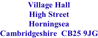 Village Hall High Street Horningsea Cambridgeshire  CB25 9JG